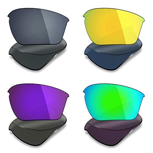 Mryok Lot de 4 paires de verres polarisés de rechange pour lunettes de soleil Oakley Half Jacket 2.0 XL – Noir IR/or 24 K/violet plasma/vert émeraude