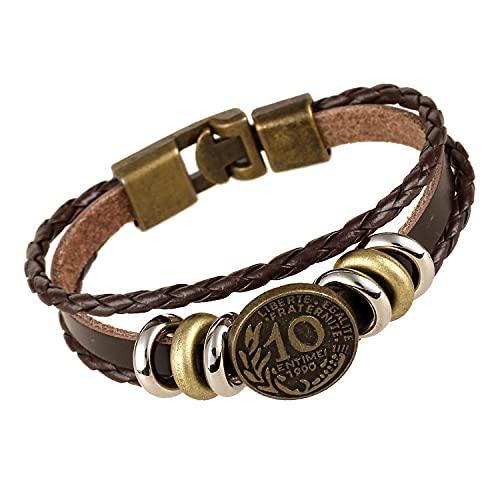 Schutzengel Armband,Einfachheit Verstellbares ArmbandMünzendesign Geflochtene Lederarmbänder Geschenk Freundschaftsarmbänder Für Damen Herren Geburtstagsfeier Begünstigt Armbänder