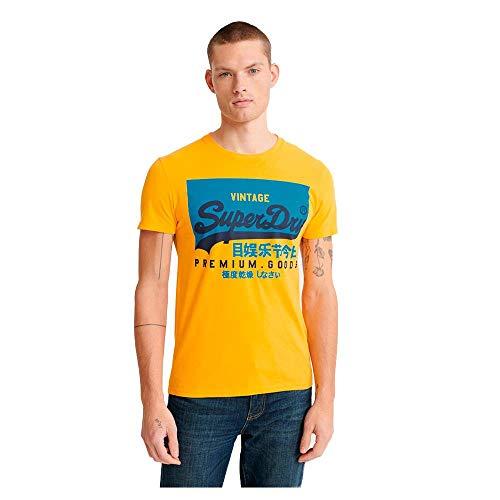 Superdry Herren VL O Tee Freizeithemd, Gelb (Utah Gold RUA), Medium