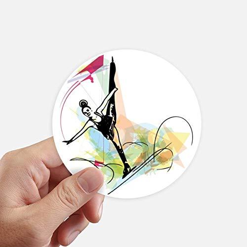 DIYthinker Los Atletas Deporte de Invierno Patinaje artístico Femenino Redondas 10cm Pared Maleta portátil Motobike Decal 8pcs Diámetro 10cm
