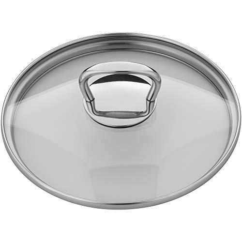 WMF Couvercle de casserole de 16 cm, couvercle en verre avec poignée carrée en métal, couvercle pour casseroles et poêles, verre résistant à la chaleur, passe au lave-vaisselle