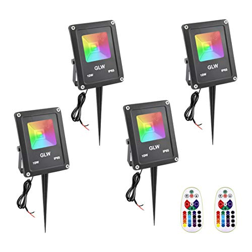GLW RGB Landscape Lights 10W Color Changing Flood Light with Remote Control IP65 Waterproof 16 Colors Changing 4 Mode…