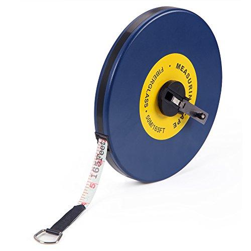 Deuba Kapselmaßband 50m/165 Ft Beidseitig markiert Fiberglas Öse Maßband Bandmaß Messband Rollmeter Rollmaßband Rollbandmaß