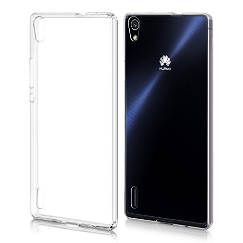 REY Funda Carcasa Gel Transparente para Huawei Ascend P7 Ultra Fina 0,33mm, Silicona TPU de Alta Resistencia y Flexibilidad