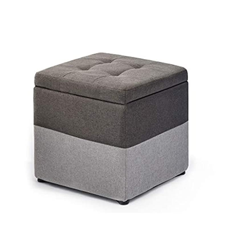 JJXZM Footstool Cube Chest Ottoman Chair Multifunction Folding Highly Elastic Sponge Upholstered Seat Storage Stool Linen Footrest (Color : Gray)