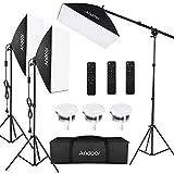 Andoer Fotografie Licht Kit Softbox-Beleuchtungsset 3 Packung, mit 85 W 2800K-5700K zweifarbige dimmbare LED Lampen, Fernbedienungen und Lampenständer für Video Aufnahmen Porträtlfotografie usw