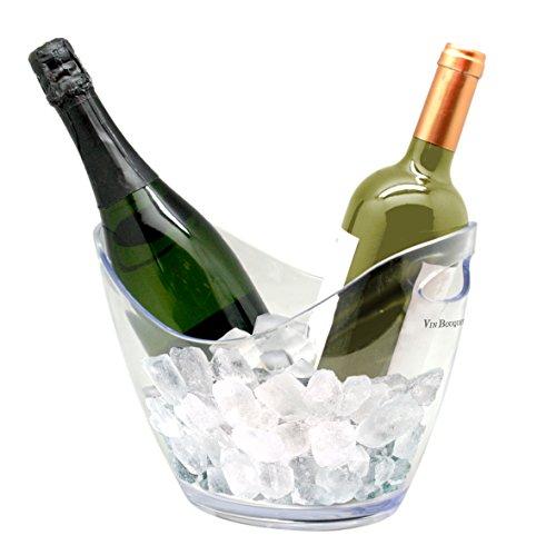 vin bouquet Transparent 2 Bottles Ice Bucket Secchiello portaghiaccio Trasparente per 2 Bottiglie