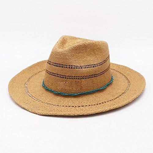 CHENGWJ Straw hoed mannen Klassieke Gestreepte Fringed Paper Straw Hoed Brede Brim Jazz Beach Hoed Vrouwen Zomer Zon Hoed Man Cap Derby Hoed