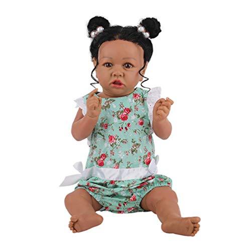 23 Pulgadas 58 Cm Muñecas Negras Africanas De Cuerpo Completo De Silicona Reborn Muñeca Hecha A Mano Realista Muñecas Recién Nacidas para Niñas Cumpleaños (Ojos Azules, 01)