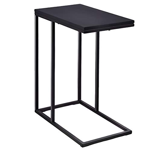 Tangkula Coffee Tray Sofa Side End Table, Couch Table Console Table,Lap Table Snack Table C Table, End Table, Black