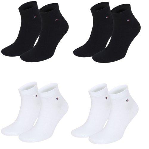 Tommy Hilfiger unisex Quarter Socken Farbkombinationen 4er Pack- Gr. 39-42, 2x Schwarz 2x Weiß