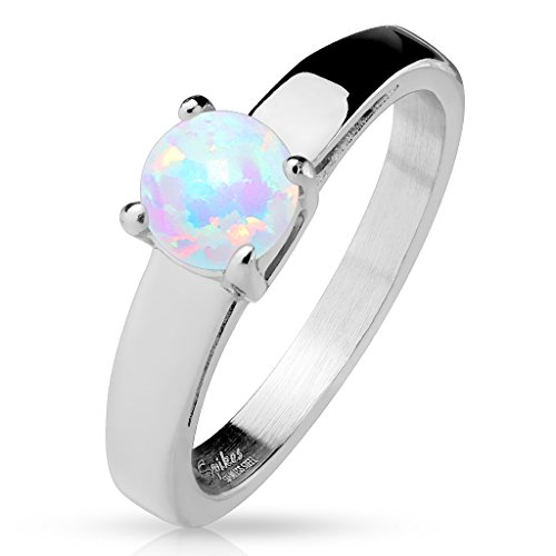 Paula & Fritz® Ring aus Chirurgenstahl Edelstahl 316L Klassicher Verlobungsring mit eckigen Kanten und rundem Opal 57 (18)
