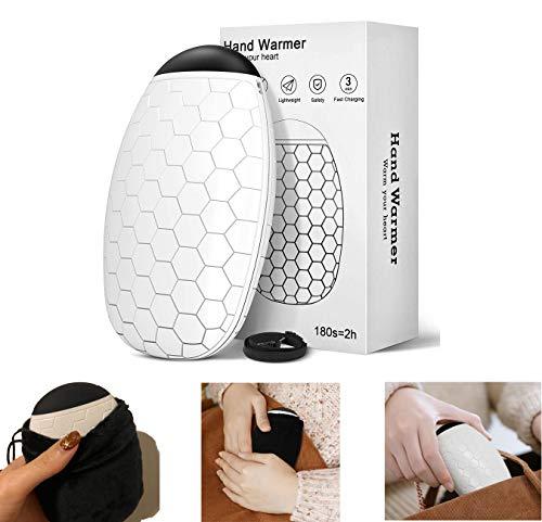 Heshengping - Calentador de manos recargable de doble cara, sin batería, sin diseño de agua, más seguro de usar, carga durante 3 minutos, calor duradero durante 1 a 2 horas.