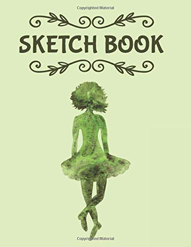 """Sketch Book: Irish Dancing Girl Large Drawing Book (8.5"""" X 11"""") – 110 Blank pages With Border Around Edge of Page"""