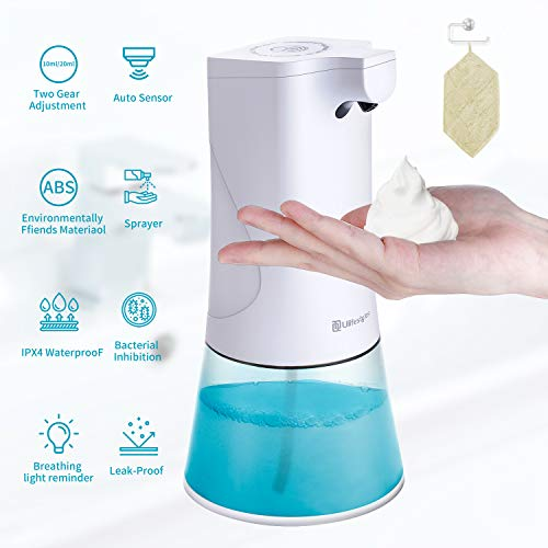 Dispensador Automático, Dispensador de Jabón USB Recargable de 350 ml con Sensor de Infrarrojos, Equipado con Toallas Especiales y Soporte de Pared Dispensador Jabon