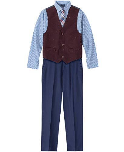 IZOD Boys' Toddler 4-Piece Formal Set with Shirt, Vest, Pants, and Tie, Navy/Burgundy, 3T