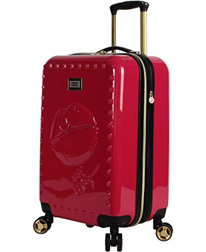 Betsey Johnson Designer 20 Inch Carry On - Expandable (ABS + PC) Hardside Luggage - Lightweight Durable Suitcase With 8-Rolling Spinner Wheels for Women (Lip Service Red)
