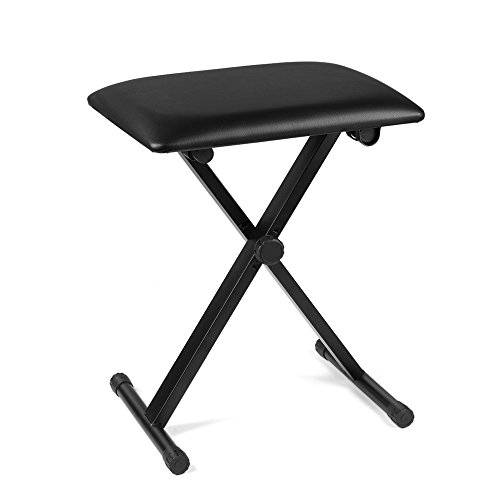 Flexzion Piano Bench - Keyboard Bench Height Adjustable Foldable X-Style Padded Stool Chair Seat Cushion With Anti-Slip Rubber Feet Perfect for Kids, Adult Instrumental Performance and Practice