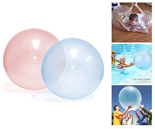 AMZPTBOY 2pcs Fun Inflatable Bubble Balloon Toy for Adults Kids Inflatable Water Ball Beach Garden Ball Soft Rubber Ball Outdoor Party and Beach Pool Party Toys (Pink and Blue)
