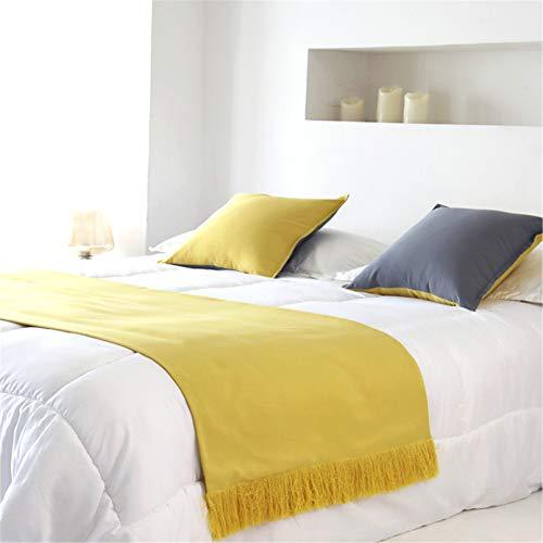 HXFYJ Bufanda de Corredor de Cama de Color sólido borlas Hechas a Mano Funda de Cama Ropa de Cama de algodón colchas Toalla de Cola de Cama para Hotel de Dormitorio,Yellow-67X220cm for 150cm Bed