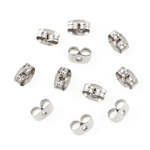 300 Pieces Stainless Steel Butterfly Earring Backs (Silver 5x3.5mm)