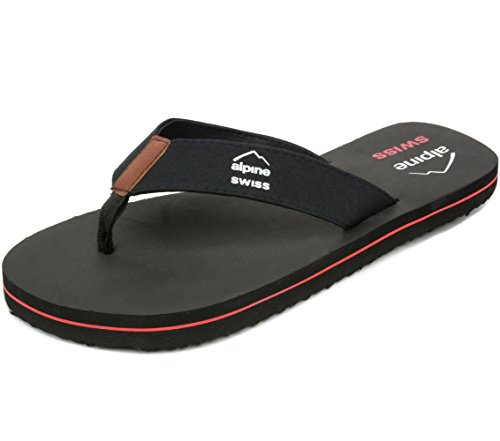 Alpine Swiss Mens Flip Flops Beach Sandals EVA Sole Comfort Thongs Black 13 M US
