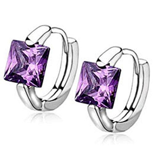 Wiftly Femmes Boucles d'oreilles Zircon Accessoires pour Fille Elégant Bijoux Cadeau Anniversaire (Violet)