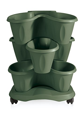 Bama Robex Trifoglio 3piezas Maceta y platillo con ruedas,,, verde, 40x40x51 cm