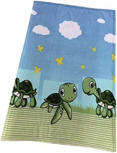 EXKLUSIV HEIMTEXTIL Baby Kuscheldecke Wolldecke Fleece Krabbeldecke Schmusedecke Babydecke 75x100 cm Schildkröte