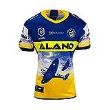 YINTE 2020 Parramatta Eels Coupe du Monde Rugby Jersey, Eel Anzac Mens Football Shirt Coton Jersey Graphique T-Shirt Édition Commémorative Rugby À Manches Courtes Pro Jers XL