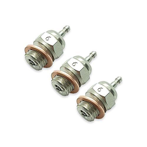TCA Racing Standard Glow Plug / BUJIAS RC Short Thread T6 - 1/8-1/10 Scale RC Cars, GO, KYOSHO, OS, Thunder Tiger Engines - 3 Pcs