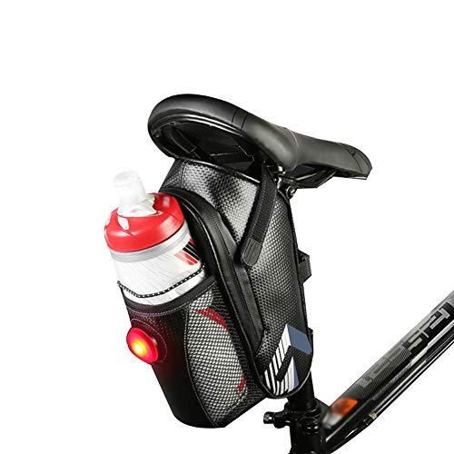 Honelife Saco de sela de bicicleta resistente à água Bicicleta sob assentos Bolsa com luz traseira para acessórios de ciclismo