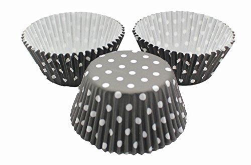 DeColorDulce Polka Dot Muffin, Papier, Noir, 10 x 10 x 5 cm, Lot de 50