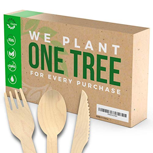 EarthClusive Disposable Wooden Cutlery Set: Compostable Utensils for Party, Wedding, Camping, BBQ, and More - Biodegradable Flatware Sets with Forks, Knives, and Spoons - Bulk Utensil Pack - 300 Piece