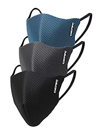 Gear OXYMAX G95 Adult Unisex Reusable & Washable 6 Layer NABL Certified Outdoor Protection Face Mask (Pack of 3) Black, Dark Grey, Moroccan Blue