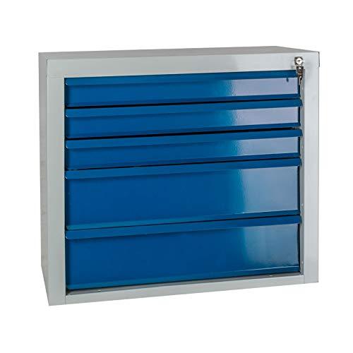 ADB Schubladenschrank, Werkzeug-Schrank, mit 5 Schubladen, RAL 7035/5012, aus Metall, für die...