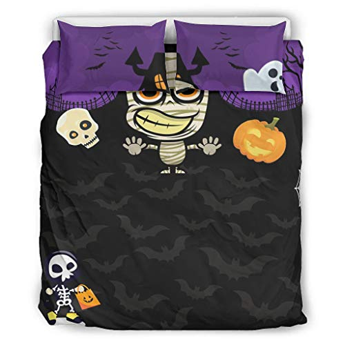 Ouniaodao Bedding Cover Sets Halloween Horror Microfiber -Halloween's Day Gift Bed Set 3 Piece white 66x90 inch