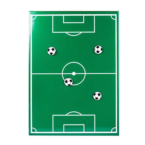 Monsterzeug Memoboard mit Fußball Magneten, Grüne Magnettafel Fußballfeld, Fußball Taktiktafel aus Metall, Geschenke für Fußballer
