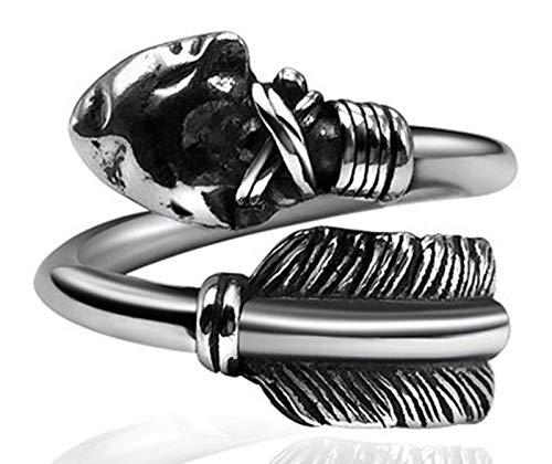RXISHOP Anillo de plata S925 para hombres y mujeres, arco de plumas y flecha, estilo retro, estilo punk, anillo de regalo para novio padre de la suerte, 15-26#