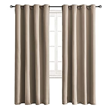 WONTEX Blackout Curtains Room Darkening Thermal Insulated with Grommet Curtains for Bedroom 52 x 84 inch Taupe 2 Panels
