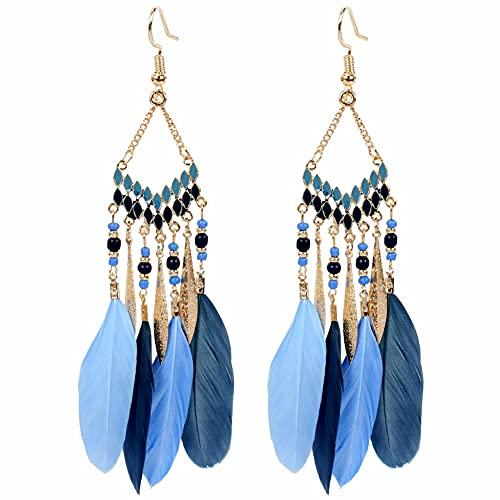 Pendientes bohemios con diseño de plumas y pompones largos y étnicos vintage para mujeres y niñas, Titanio,