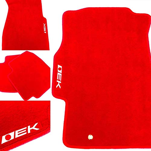 CPD AUTO 4 Piece Red Floor Mats with EK Logo for Honda Civic Hatchback Coupe and Sedan 1996 1997 1998 1999 2000 Fits All EX LX DX CX SI HX
