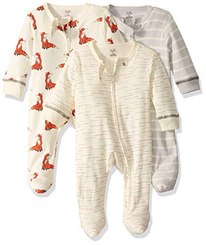 Touched by Nature unisex baby Organic Cotton and Play Sleepers, Boho Fox, 6-9 Months US