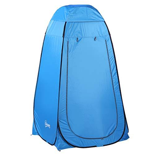 Outsunny Pop up Toilettenzelt, Mobiles Camping Duschzelt, Umkleidezelt mit Innentasche, Duschkabine, Umkleidekabine, Wasserfest, Polyester Blau 120 x 120 x 190 cm