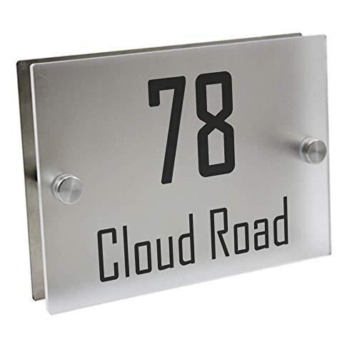 MLL Números de casa Placa de Puerta Moderna Número de casa Personalizado Placa de señalización de Puerta Calle Acrílico Cristal Mate Placas de dirección de la casa Letreros de Exterior