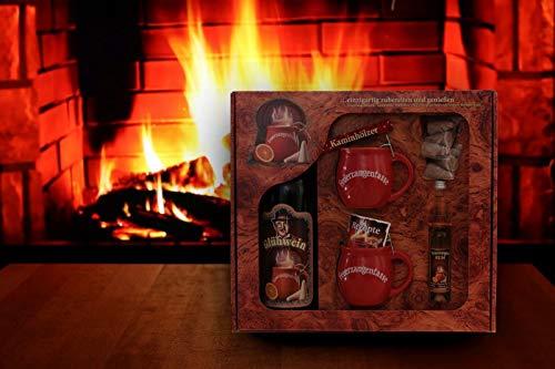 Feuerzangentasse Geschenkset rot - Wurzelholz-Design