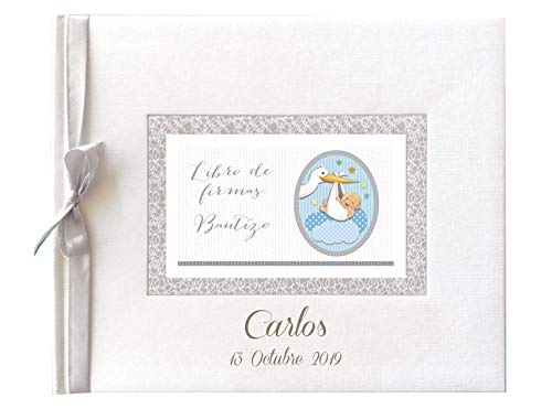 Libro de firmas para Bautizo Personalizado, Grabado en la Portada con Nombre y Fecha (Azul)