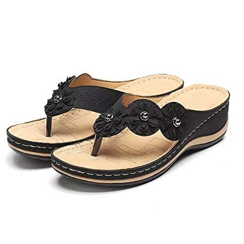 ypyrhh Casual Beach Wedge Slipper, sandalias de mujer planas con puntera redonda, chanclas, negro 38, zapatos de playa y piscina