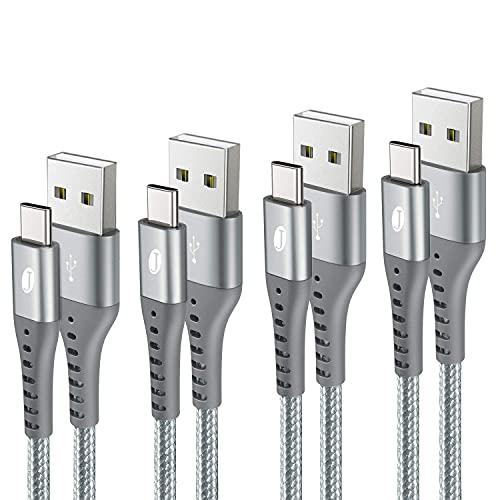 J Jecent Cable USB Tipo C, [4 Pack 0.5m 1m 1m 2m] Cargador Tipo C y Cable de Nylon USB C rápida Carga para Samsung S20 S10 S9 S8 Plus A71 A51, Huawei P30 P20, PS5, Xiaomi, LG, (Plata Gris)