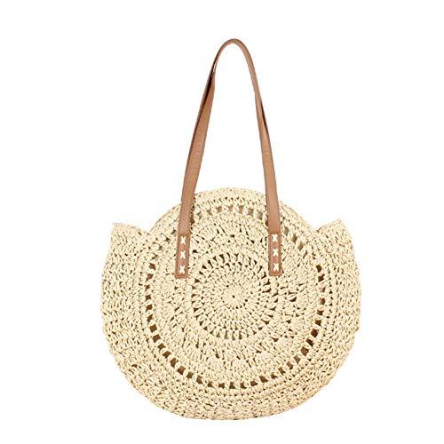 Eihan - Bolsa de tela redonda para mujer (ratán), Color beige., large